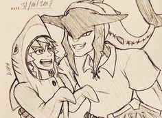 Link and Sidon drawing Prince Sidon, Evil Demons, You Are The Greatest, Amazing Art, Awesome, Demon King, Breath Of The Wild, Pirates Of The Caribbean, Geek Culture