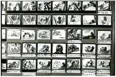 Bill Peet, Disney Animator black and white storyboard.