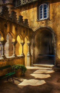 Pena palace, Sintra #Portugal.  Serene lazy morning, with the sun just coming up to greet the day..