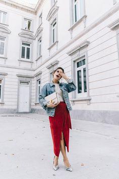 Wrap Skirt Red Skirt Suede Levis Vintage Denim Jacket Isabel Marant Shoes Printed Pumps Gold Bracelets Celine Classic Box Hoop Earrings Topknot Outfit Street Style Vestiaire Collective