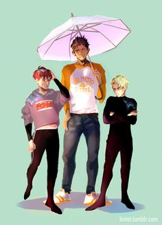 Small people problem: it is impossible to share an umbrella with tall people. Neil and Andrew got soaked good job Matt… lol Characters are from The Foxhole Court by Nora Sakavic go read it!