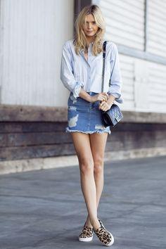2014 Wearing: Asos denim skirt, Madewell denim shirt, Windsor Smith slides,Chanel bag