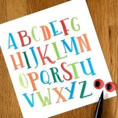 Grossbuchstaben Alphabet Brush Pen Lettering  Hand-Lettering Galerie - Bunte Galerie