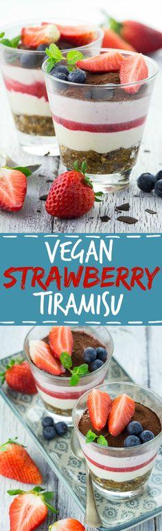This vegan strawberry tiramisu is perfect for spring! It's completely sugar- and gluten-free, healthy, super easy to make, and so insanely creamy!! #vegan #dessert #tiramisu #strawberry #cashews #recipe