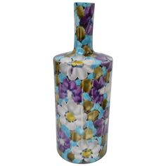 Floral Italian Ceramic Vase | From a unique collection of antique and modern vases and vessels at https://www.1stdibs.com/furniture/decorative-objects/vases-vessels/