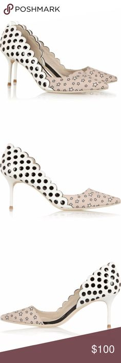 Star Pumps Authentic  New, never worn, without box.  Heel measures approximately 70mm/ 3 inches. Scalloped edge, black patent-leather underlay, beige, black and off-white star-print twill panel, pointed toe. Sophia Webster Shoes Heels
