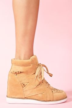 Venice Wedge Sneaker in Tan