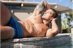 Parker Hurley Gets Wet for Mr Turk  #ParkerHurley #MrTurk #swimwear #tattoo