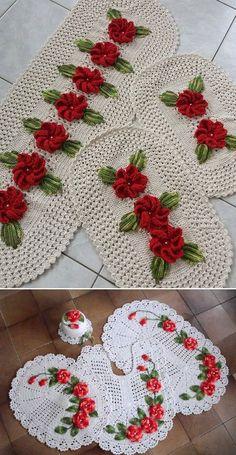 Aprenda como fazer jogo de banheiro de crochê com lindos modelos passo a passo para iniciantes e vídeos que ensinam como fazer belos tapetes de barbante.