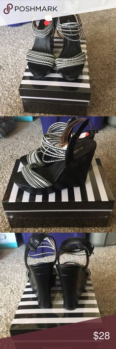 BCBG generation black and white wedges! BCBG generation black and white wedges! Really cute and brand new wedge sandals with black and white detail. These are perfect for the summer or vacation! BCBGeneration Shoes Wedges