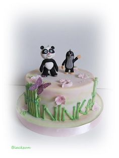 Panda and little mole by Blacksun Panda Cakes, Daily Inspiration, Cake Decorating, Birthday, Desserts, Ideas, Food, Tractor, Tailgate Desserts
