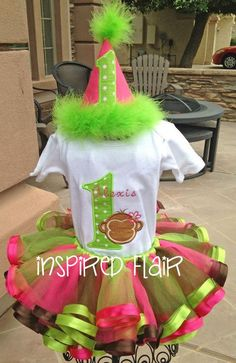 Hey, I found this really awesome Etsy listing at https://www.etsy.com/listing/160316142/first-birthday-tutu-girls-pink-green-mod