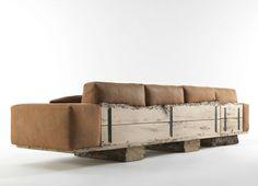 canapé de style rustique en cuir et bois brut