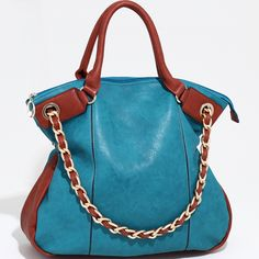 Designer Inspired Two-Tone Tote Handbag w/ Additional Chain Strap - Blue / Brown  $49.99 + free shipping  wantedwardrobe.com  #handbags #fashion