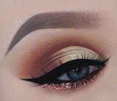 Neutral eye with glitter underneath- eye shadow goals!