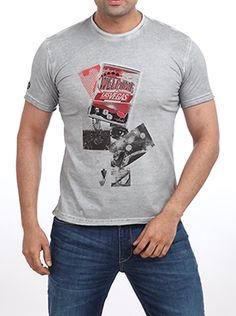 Make a style statement at all boys night-outs with this Parx Jeans Men Grey T-Shirt in medium gray. It is a must-add in your wardrobe. The black and red graphics enhance the medium gray color and the round neck adds on to its casual look. Wear this one with a large black dial watch. This slim fit with �Welcome to Las Vegas� graphic sets in the right party mood. Some gel on your hair and you are ready to party. Casual T Shirts, Large Black, Casual Looks, Night Out, Las Vegas, Gray Color, Graphics, Slim, Mood
