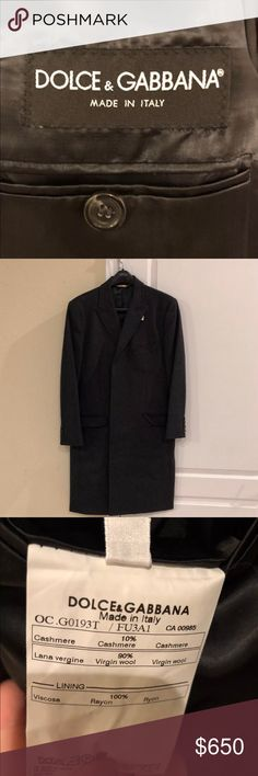 "Men's Dolce & Gabana 100% cashmere overcoat 40R New with tags, excellent overcoat  Sleeve length (from centerline): 32"". Total length: 43"". Armpit to bottom: 29"" Dolce & Gabbana Jackets & Coats Trench Coats"