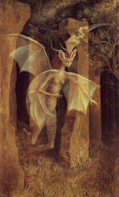 'Personaje,' painting in mixed media on cardboard by Remedios Varo, 1958.