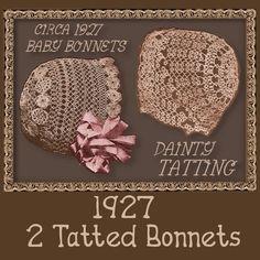 TAT 2 vintage BABY BONNETS 1920s pattern por eVINTAGEpatterns