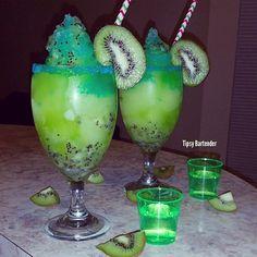 ELECTRIC KIWI MARGARITA ~ 1 Kiwi Muddled, 1 oz. (30ml) Kiwi Liqueur, 2 oz. (60ml) Tequila, 1 oz. (30ml) Sweet & Sour, 3/4 oz. (22ml) Lime Juice , Splash of Blue Curacao