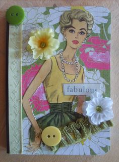 Vintage Inspired Lady Mini Altered Composition Book by jnshomespun, $5.99