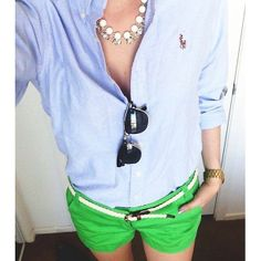 blue oxford, green chino shorts