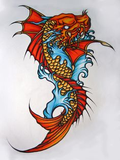 Angel Tattoos further Red Skull Tattoo. on koi and dragon tattoo Koi Dragon Tattoo, Koi Fish Tattoo Forearm, Dragon Koi Fish, Dragon Tattoo Drawing, Small Dragon Tattoos, Dragon Tattoo Designs, Fish Tattoos, Tattoo Art, Tattoo Design Drawings