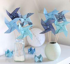 8 moulins à vent dans un dégradé de bleu : Accessoires de maison par latelierdesconfettis