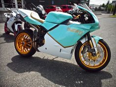 tiffany blue motorcycle pictures | David Frost's minty blue Ducati 998 custom motorcycle.