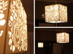 Laser Cut White Perspex Floral Light Shade