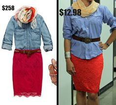 O Magazine ~ Turn lace into a daytime look!   $258 Retail vs $12.98 Thrift Store Style