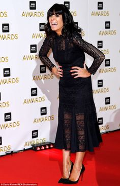 All black everything: Strictly Come Dancing host Claudia Winkleman looked her usual sartorial self as she giggled on the carpet Curvy Women Outfits, Clothes For Women, Claudia Winkleman, Tv Presenters, Celebs, Celebrities, Music Awards, Her Style, Beautiful Outfits