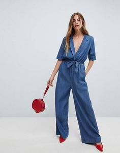 Shop the latest Only wrap denim jumpsuit trends with ASOS! Free delivery and returns (Ts&Cs apply), order today! Asos, Combi Jean, Style Casual, My Style, Denim Style, Denim Overall, Denim Jumpsuit, Overalls, Dress To Impress
