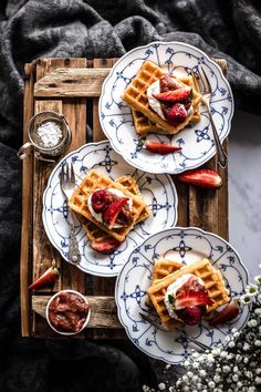 Today we have Belgium Waffles for you which are perfect for a sweet breakfast on the weekend or an afternoon tea. Look how they are arranged and styled. If you want to find our mor about foodstyling and -photography visit Klara & Ida. Breakfast Party, Breakfast Waffles, Sweet Breakfast, Brunch Recipes, Easy Dinner Recipes, Breakfast Recipes, Crepe Recipes, Waffle Recipes, Oven Recipes