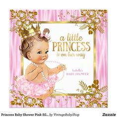 Princess Baby Shower Pink Silk Floral Brunette Invitation