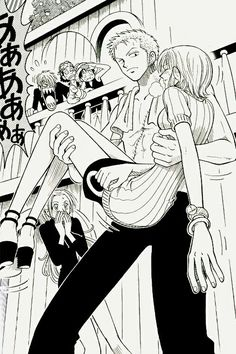 Nami, Zoro, couple, funny, Sanji, Luffy, Vivi, Usopp, carrying, text; One Piece