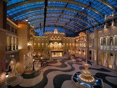 MGM Macau Casino Resort, Image of the Grande Praca designed by Creative Kingdom Inc. Wilson Associates, Casino Night Party, Koh Samui, Macau, Travel Images, Hotel Deals, Hotels And Resorts, Night Life, Architecture Design