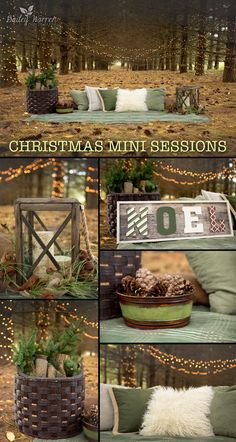 Holiday and Christmas Minis Photography Sessions in the woods. buena idea para la sesion de mis niños de este año