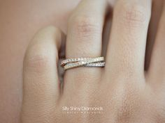 Tricolor 3 Rolling Diamond Ring Band by SillyShinyDiamonds on Etsy