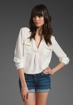 Joie MysticTop, white with yellow-beige detail  #minimalist #fashion