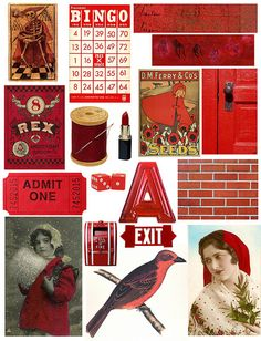 Vintage ephemera collage sheet printable...so cute to add to your heritage scrapbook for a touch of old-fashion charm.
