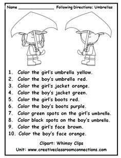 Following directions with color words is a fun practice activity. View other…