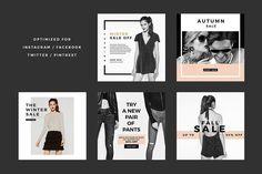 Fashion Social Banner Pack 6 by MinimalStudioCo on Social Media Ad, Social Media Banner, Social Media Template, Social Media Design, Graphic Design Tips, Ad Design, Design Layouts, Graphic Art, Sale Banner