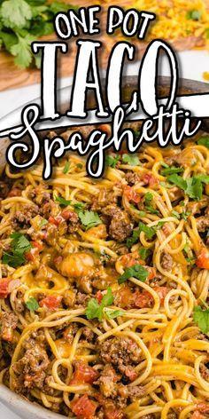 Taco Spaghetti, Spaghetti Recipes, Mexican Spaghetti, Spaghetti Beef Recipe, Chicken Spaghetti, Beef Dishes, Food Dishes, Main Dishes, Hamburger Dishes