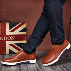 Men Pure Color Casual Lace Up British Style Oxford Shoes