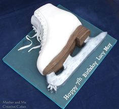 Ice Skating Boot - cake by Mother and Me Creative Cakes - CakesDecor Ice Skating Cake, Ice Skating Party, Skate Party, Cupcakes, Cupcake Cakes, 9th Birthday Cake, Birthday Ideas, Sports Themed Cakes, Buttercream Fondant