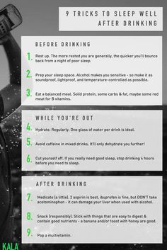Ever woken up after a night of drinking and felt a little worse for wear? Try these tricks before, during, and after drinking to sleep better and recover more quickly.