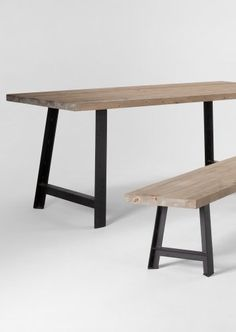 The Buckley Dining Table and Bench in Solid Fir Wood and Black. Rustic looking wood with chunky metal legs. Metal Dining Table, Dining Table Design, Console Tables, Dining Table In Kitchen, Dining Bench, Nautical Cushions, Wood Working, Coastal, Cottage