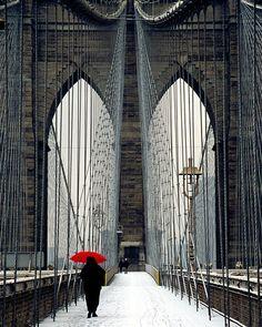 Brooklyn Bridge and Red Umbrella - New York City