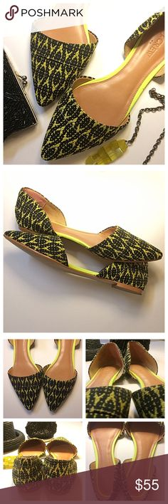 J. Crew | Graphic Woven D'Orsay Flats Add an unexpected pop of color this autumn with these gorgeous flats! Yellow and black fabric at toe and heel, with neon trim along a beige footbed. Worn just once so like-new condition outside of moleskin attached to inner heel & minor wear on leather bottom soles. Sold out in stores and online! Open to offers 🙂✌🏾️ J. Crew Shoes Flats & Loafers